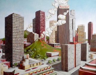 Volcano in Los Angeles, Architecture,Paintings, Fine Art,Surrealism, Architecture, Oil, By federico cortese