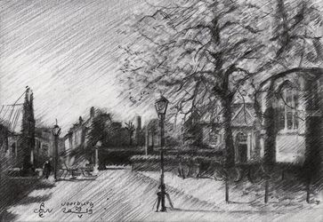 Voorburg - 09-05-19, Drawings / Sketch, Fine Art,Impressionism,Realism, Architecture,Cityscape,Composition,Historical,Inspirational, Pencil, By Corne Akkers