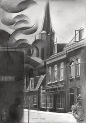 Voorschoten – 11-03-19, Drawings / Sketch, Cubism,Fine Art,Impressionism,Realism,Surrealism, Anatomy,Architecture,Cityscape,Composition,Fantasy,Figurative,Inspirational,People, Pencil, By Corne Akkers