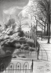 Vossendijk – 09-04-19, Drawings / Sketch, Cubism,Fine Art,Impressionism,Realism, Cityscape,Composition,Inspirational,Landscape, Pencil, By Corne Akkers