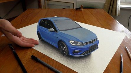 VW Golf car painted in 3D<br>Anamorphic Optical Illusion, Illustration,Paintings, Photorealism,Realism, 3-D,Machnine Forms, Oil,Painting,Pencil, By Stefan Pabst