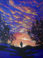 Wanderer(acrylic on canvas), Paintings, Fine Art, Landscape, Acrylic, By Victoria Trok