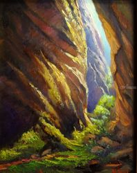 Warm lights canyoning at Blue<br>Mountains, Paintings, Fine Art,Impressionism,Realism, Landscape, Canvas,Oil, By Christopher Vidal