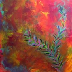Warm Love, Paintings, Abstract, Botanical,Landscape, Canvas, By Kenneth Parker