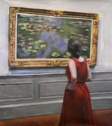 Watching Monet Waterlillies <br>painting, Paintings, Expressionism,Fine Art,Realism, Anatomy,Decorative,Figurative,Floral,Historical,Nudes,People,Portrait, Acrylic, By escha van den bogerd