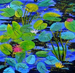water lilies 88, Architecture,Decorative Arts,Drawings / Sketch,Paintings, Expressionism, Botanical, Canvas, By Pol Ledent