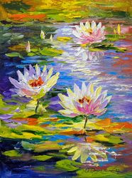 Water lilies in the pond, Paintings, Fine Art,Impressionism, Botanical,Floral,Landscape,Nature, Canvas,Oil,Painting, By Olha   Darchuk