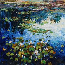Water lilies Original Oil<br>painting, Paintings, Impressionism, Botanical,Floral,Landscape, Canvas, By Anastasiya Valiulina