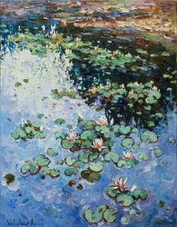 Water lilies Original Oil<br>painting, Paintings, Impressionism, Floral,Landscape, Canvas,Oil,Painting, By Anastasiya Valiulina