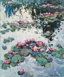 Water lilies - Original Oil<br>painting, Paintings, Impressionism, Botanical,Floral,Nature, Canvas, By Anastasiya Valiulina