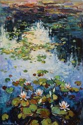 Water lilies Original Oil<br>painting 60 x 90 cm, Paintings, Impressionism, Botanical,Landscape,Nature, Oil, By Anastasiya Valiulina