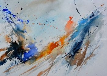 watercolor 1071, Paintings, Abstract, Decorative, Canvas, By Pol Ledent