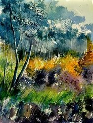 watercolor 216050, Architecture,Decorative Arts,Drawings / Sketch,Paintings, Impressionism, Landscape, Painting, By Pol Ledent