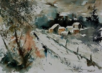 watercolor 290306, Architecture,Decorative Arts,Drawings / Sketch,Paintings, Impressionism, Landscape, Watercolor, By Pol Ledent