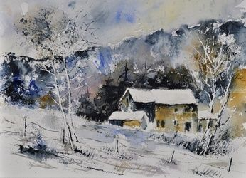 watercolor 414041, Architecture,Decorative Arts,Drawings / Sketch,Paintings, Impressionism, Landscape, Canvas, By Pol Ledent