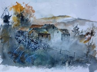 watercolor 511032, Architecture,Decorative Arts,Drawings / Sketch,Paintings, Impressionism, Landscape, Watercolor, By Pol Ledent