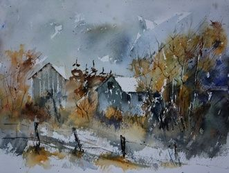 watercolor 512122, Architecture,Decorative Arts,Drawings / Sketch,Paintings, Impressionism, Landscape, Watercolor, By Pol Ledent