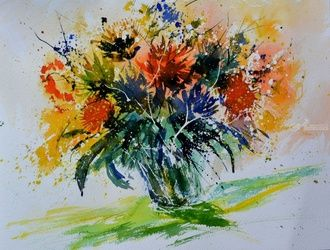 watercolor 515052, Paintings, Impressionism, Floral, Watercolor, By Pol Ledent