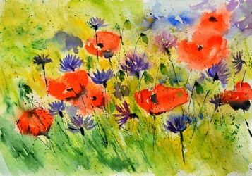 watercolor 517020, Paintings, Impressionism, Floral, Watercolor, By Pol Ledent