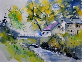 watercolor 612061, Architecture,Decorative Arts,Drawings / Sketch,Paintings, Impressionism, Landscape, Watercolor, By Pol Ledent