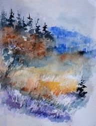 watercolor 612113, Architecture,Decorative Arts,Drawings / Sketch,Paintings, Impressionism, Botanical,Landscape, Watercolor, By Pol Ledent