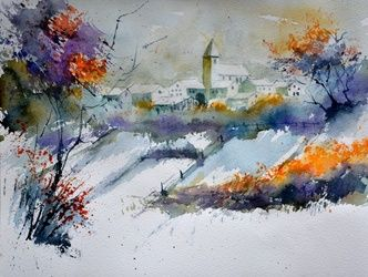 watercolor 612191, Paintings, Impressionism, Landscape, Painting, By Pol Ledent