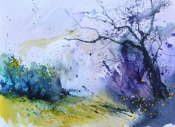 watercolor 710691, Paintings, Expressionism, Landscape, Painting, By Pol Ledent