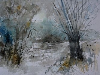 watercolor 711082, Paintings, Impressionism, Nature, Watercolor, By Pol Ledent