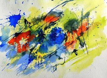 watercolor 71113, Decorative Arts, Abstract, Decorative, Watercolor, By Pol Ledent