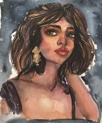 Watercolor woman portrait gold<br>feminist beauty fashion girl, Drawings / Sketch,Folk Art,Illustration,Paper Art, Fine Art,Realism,Romanticism, Anatomy,Cartoon,Fantasy,People,Portrait, Watercolor, By Maria Voinova