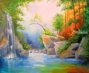 Waterfall in the woods, Paintings, Impressionism, Botanical,Landscape,Nature, Canvas,Oil,Painting, By Olha   Darchuk