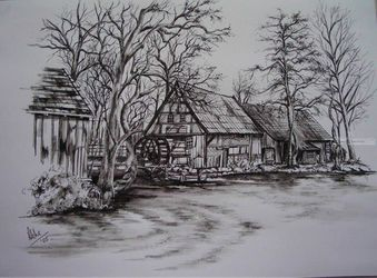 Watermill, Paintings, Fine Art,Realism, Architecture,Composition,Landscape, Ink,Painting, By Abha Neotia