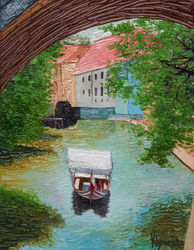Watermill, Prague, Paintings, Fine Art,Impressionism,Realism, Architecture, Canvas,Oil, By Ivan Klymenko