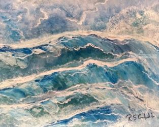 Wave-excitment, Decorative Arts,Paintings, Expressionism,Impressionism, Seascape, Acrylic,Mixed,Painting, By Robert Crawford