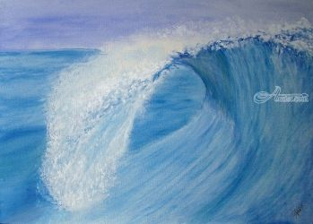 Wave Tube, Paintings, Fine Art,Realism, Nature, Painting, By Cybele Barbosa
