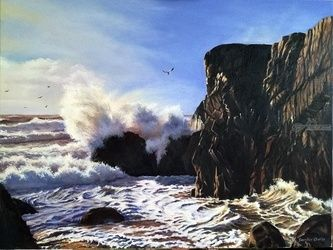 Waves, Paintings, Realism, Seascape, Canvas,Oil, By Serghei Ghetiu