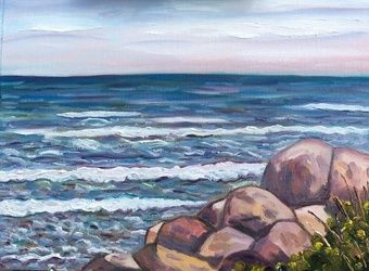 Waves and Rocks, Paintings, Impressionism,Realism, Seascape, Oil,Painting, By Richard Nowak