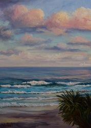 Waves at Sunset, Coolum Beach,<br>QLD, Paintings, Fine Art,Impressionism,Realism, Seascape, Oil, By Christopher Vidal