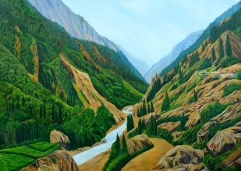 Way To Gangotri I, Paintings, Expressionism,Photorealism, Landscape, Canvas, By Ajay Harit