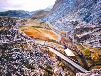 Welsh Slate Mine, Paintings, Realism, Landscape, Canvas,Oil,Painting, By Matthew Evans
