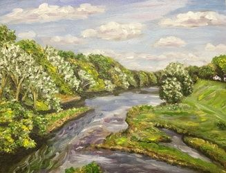 Westfield River-View from<br>Bridge, Paintings, Impressionism,Realism, Landscape, Oil, By Richard Nowak