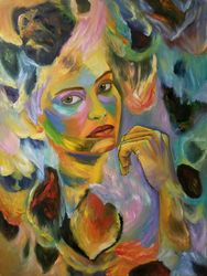 What can I do, Paintings, Expressionism, Portrait, Canvas,Oil, By Jonas Ng