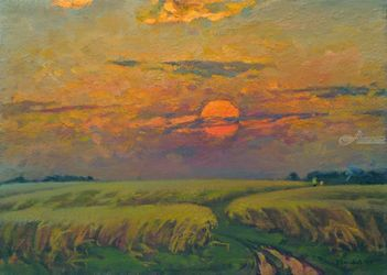 Wheat field, Paintings, Impressionism, Landscape, Canvas,Oil,Painting, By Vasily Belikov