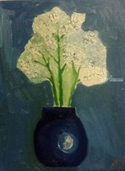 White Flowers in a Blue Vase, Paintings, Impressionism, Still Life, Oil, By MD Meiser
