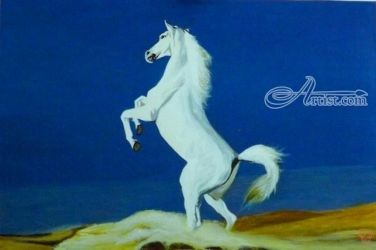 White Horse doing the Sand<br>dance, Paintings, Realism, Animals,Nature, Acrylic, By OLIVER MACHADO