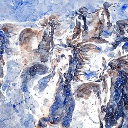 White Horses, Illustration, Impressionism, Animals, Watercolor, By Tetyana K