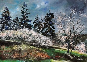 White spring 75, Architecture,Decorative Arts,Drawings / Sketch,Paintings, Impressionism, Botanical,Landscape, Canvas, By Pol Ledent