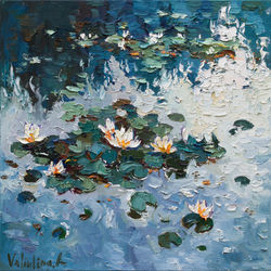 White Water Lilies - Original<br>Oil Painting, Paintings, Impressionism, Botanical,Floral,Landscape,Nature, Canvas,Oil, By Anastasiya Valiulina