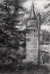 Wijk bij Duurstede –<br>13-05-19, Drawings / Sketch, Fine Art,Impressionism,Realism, Cityscape,Composition,Figurative,Inspirational,Landscape,Nature, Pencil, By Corne Akkers
