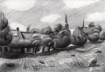 Wijk bij Duurstede –<br>20-05-19, Drawings / Sketch, Cubism,Fine Art,Impressionism,Realism, Animals,Architecture,Cityscape,Composition,Figurative,Inspirational,Landscape,Nature, Pencil, By Corne Akkers